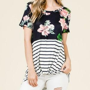 Tops - Navy Floral and Stripes Front Knot Tunic